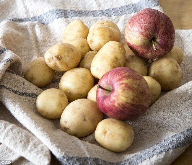 bảo quản táo và măng tây