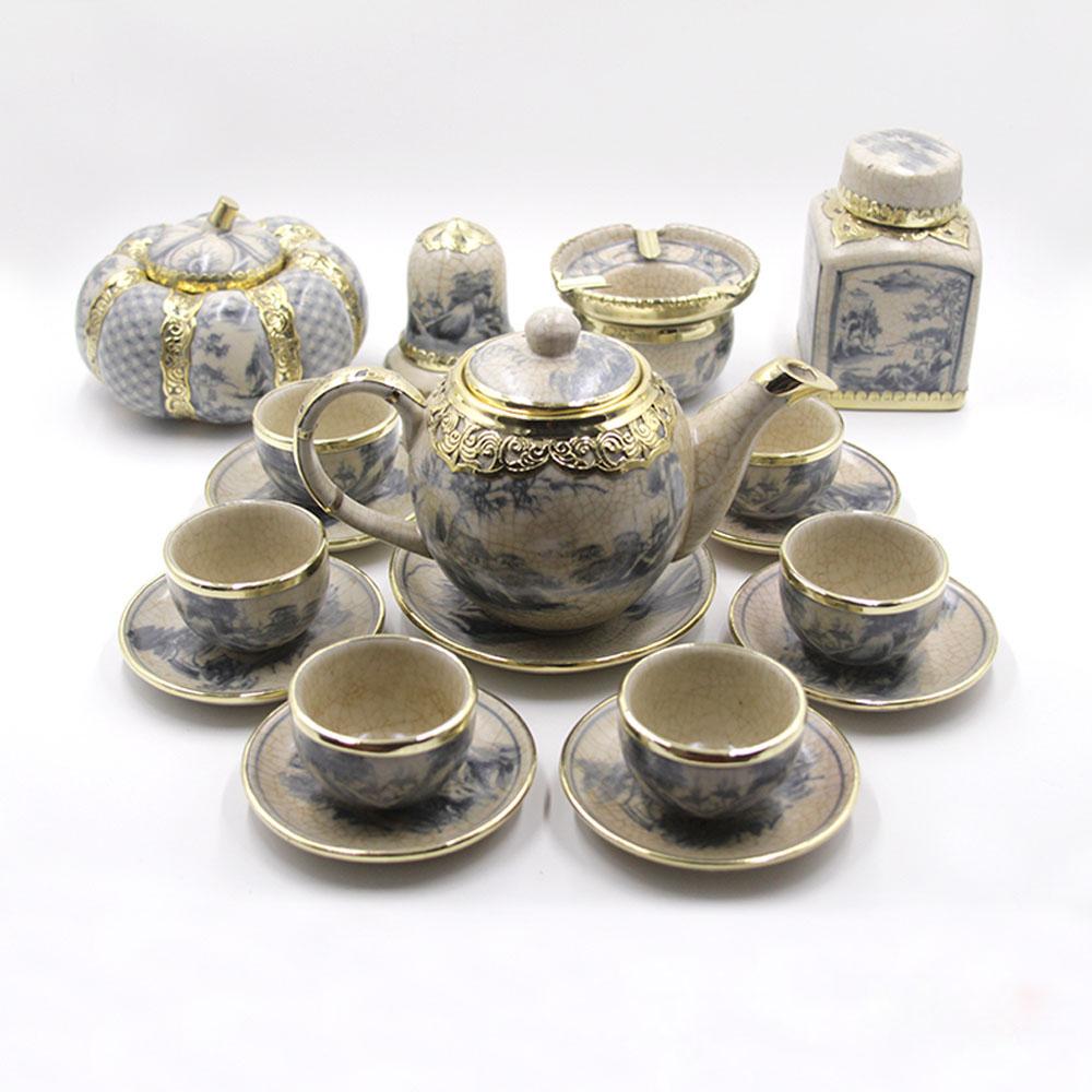 bộ ấm chén uống trà men bọc đồng