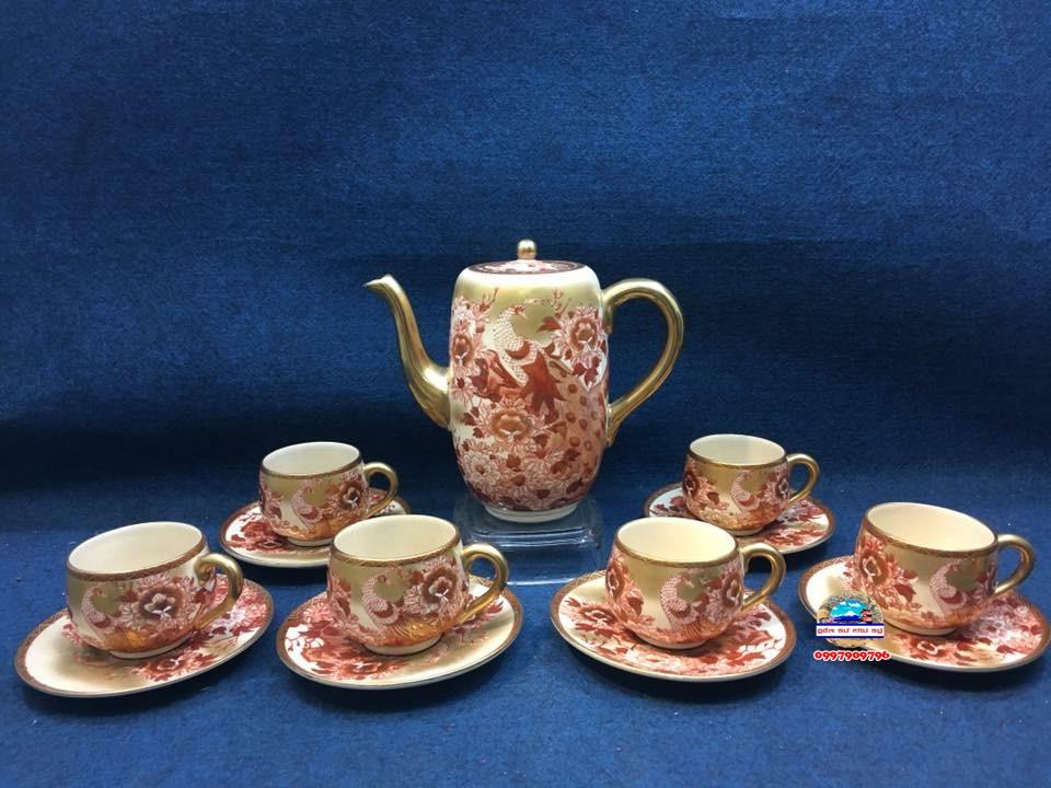 Bộ ấm chén trà rạn vẽ vàng
