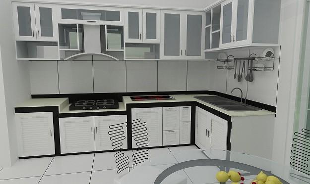 Tủ bếp kính mờ